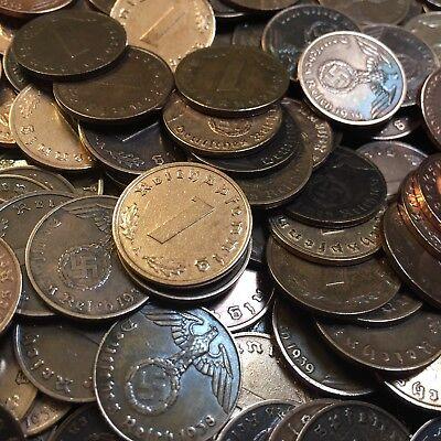 50 Coin Lot Rare WW2 German 1 RP Reichspfennig 3rd Reich Bronze Nazi Coins 8