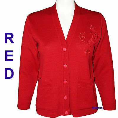 ... New Ladies Blue Red Cardigan With Pockets For Older Women Elderly Woman  Old 4 7c3c4754a