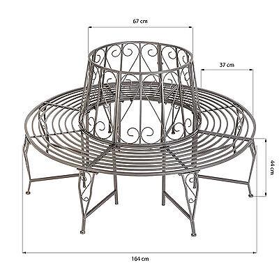 Banc de jardin pour arbre 360° rond 164cm circulaire ancien métal anthracite