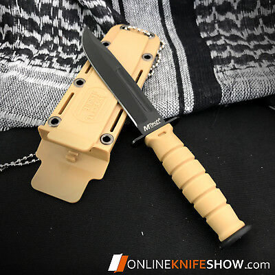 """6"""" TACTICAL COMBAT SURVIVAL Tan Spear HUNTING KNIFE Bowie Military Fixed Blade 3"""