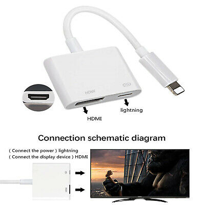 Lightning to HDMI Digital AV TV Adapter Cable For iPad iPhone 6 7 8 Plus X 4
