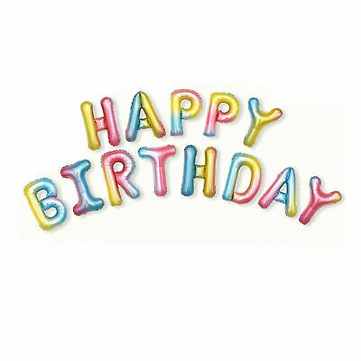 Happy Birthday Balloon Banner Bunting Self Inflating Letters Foil Balloons Party 11