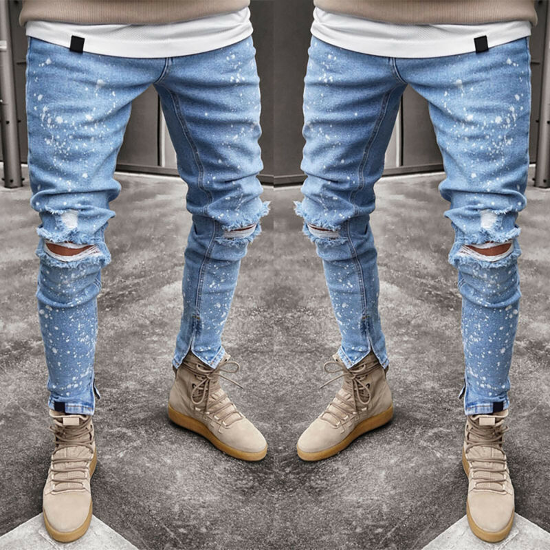 Mens Boys Stretch Skinny Ripped Jeans Biker Frayed Denim Leisure Tight Trousers 12