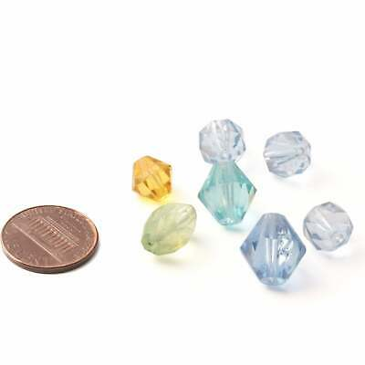 Glass beads Lot (7) Czech vintage Art Deco round oval bicone faceted blues topaz 2