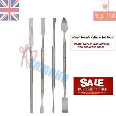 Metal Spatula 4 Piece Set Tools Dental Carver Wax Surgical -Dental Lab Tools