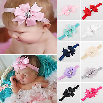 Newborn Kids Girls Headband Ribbon Elastic Baby Headdress Hair Band Bow Knot 10