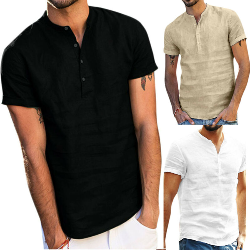 Mens Standing Collar Short Sleeve Soft Solid Tops Summer Beach Holiday T Shirts 3