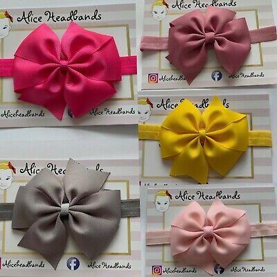 Baby Headbands Girls Hair bands Newborn 9 CM Bow Toddler UK Handmade Seller+ Lot 3