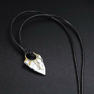 Mode pour homme en acier inoxydable boucle en cuir pu pendentif collier BBFR
