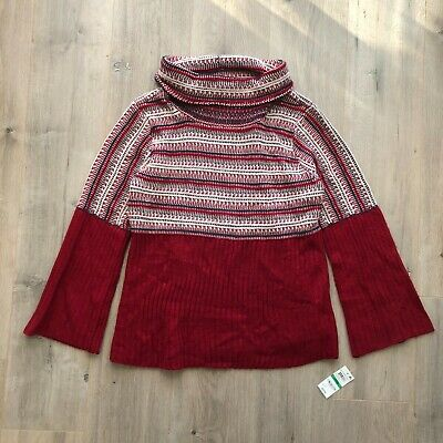 Style /& Co Womens Twofer Sweater Red Black Size 3X Plus Plaid Rib Knit $69 101