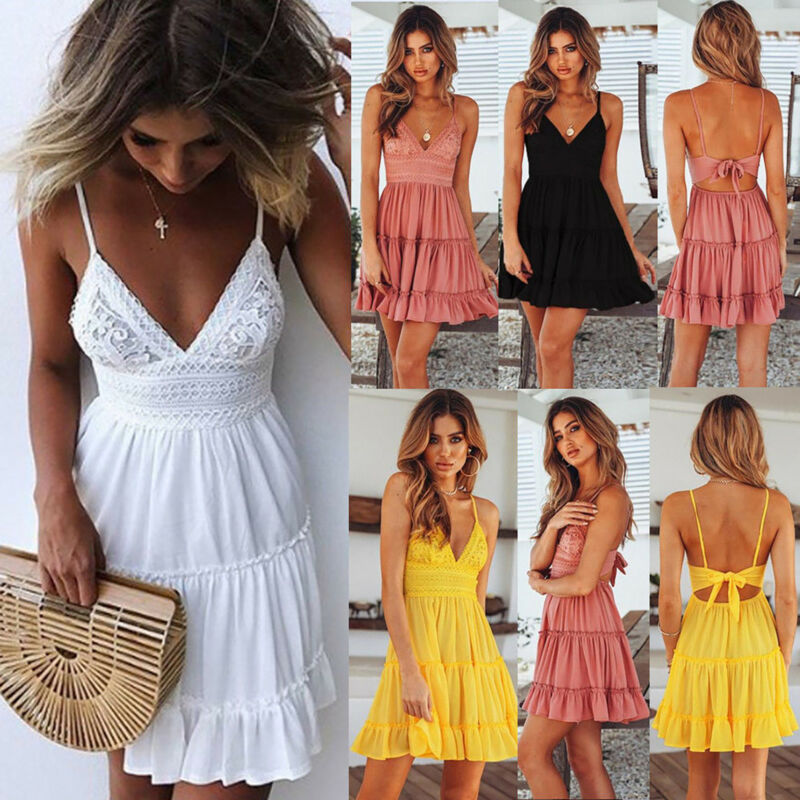 Womens Boho Strappy V Neck Lace Swing Mini Dress Floral Summer Beach Sundress 2