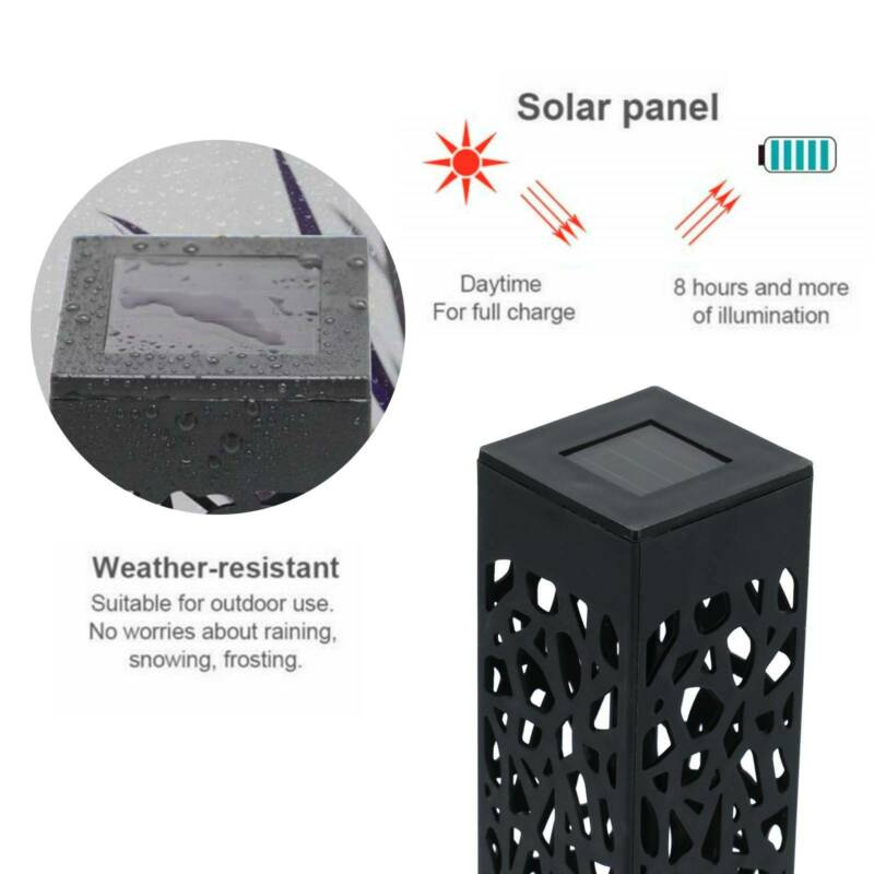 Solar 4 pcsPowered Garden Post Lights Waterproof LED Outdoor Patio Yard Lawn 7