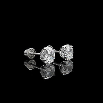 1ct Round Cut Created Diamond Earrings 14K White Gold Solitaire Screwback Studs 3