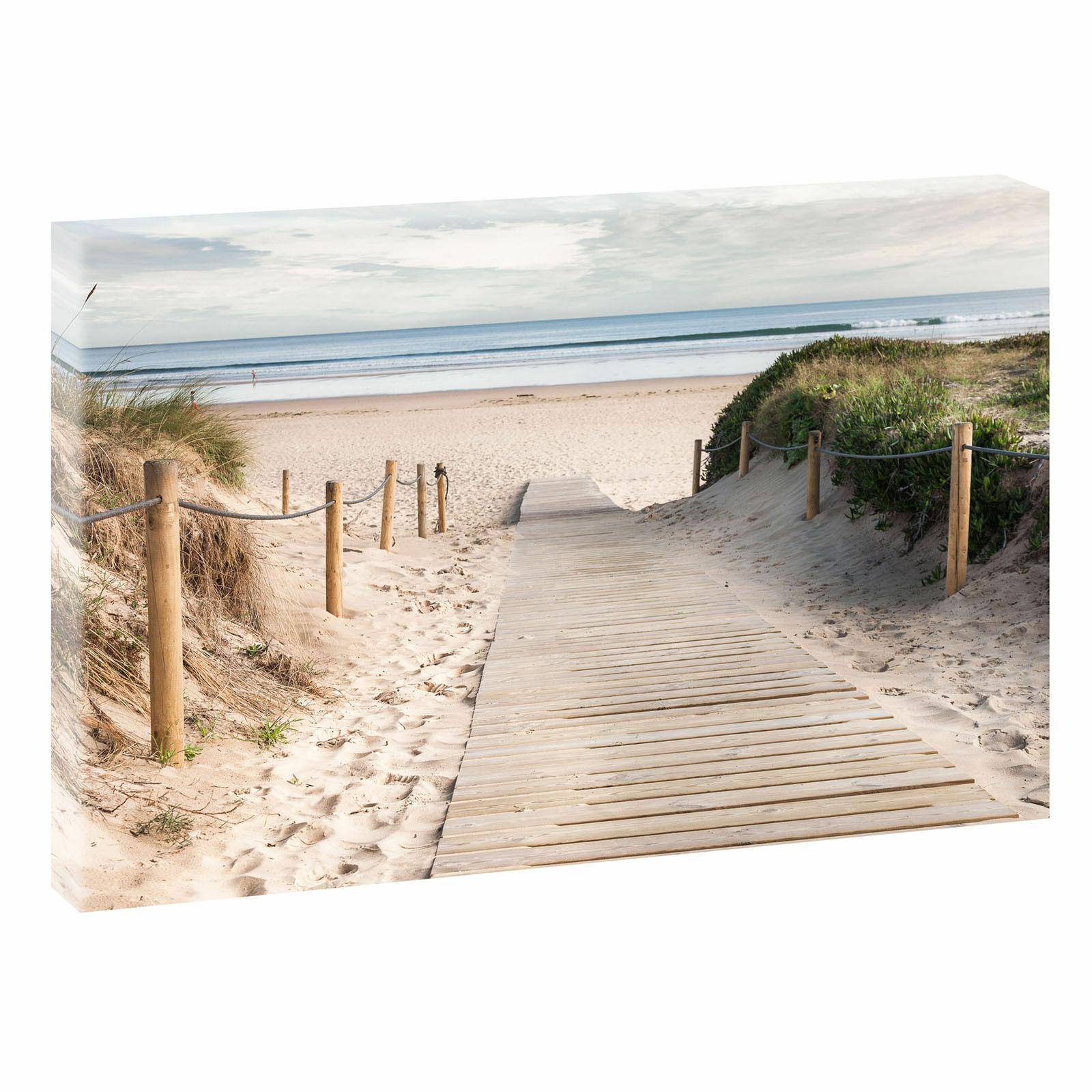 Meer Bild Strand Fotoleinwand  Wandbild Leinwand Poster XXL 120 cm*80 cm 204