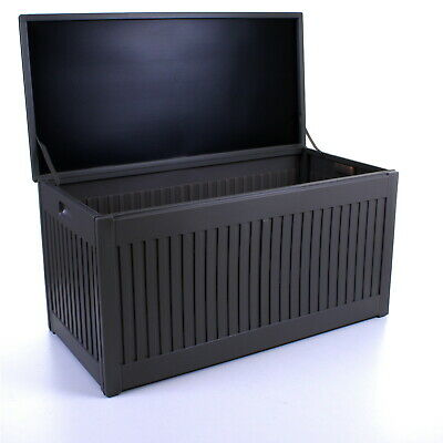 270L Grey Garden Storage Box Outdoor Plastic Utility Cabinet Shed Chest Cushion 7