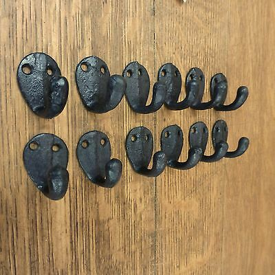 "12 Brown Xs Single Wall Coat Jewelry Hooks Rustic Antique-Style Cast Iron 1.5"" 5"