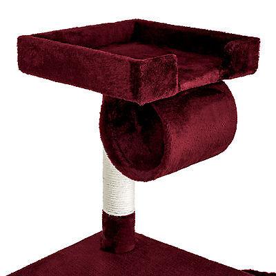 Arbre à chat griffoir grattoir animaux geant avec hamac lit 141 cm hauteur rouge 3