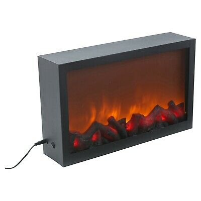 Wall Mountable LED Electric Plug In Flameless Log Fire Effect Fireplace Lantern 2