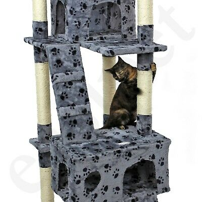 Cat Tree Activity Centre Scratcher Scratching Post Kitten Play Toy Scratch Bed 8