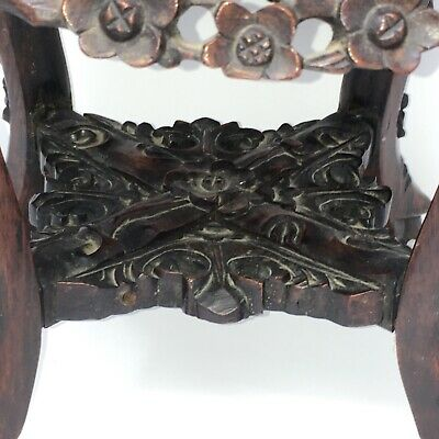 c1860 Carved Rosewood Plant Stand Marble Top Antique Wood Table Birds Flowers 7