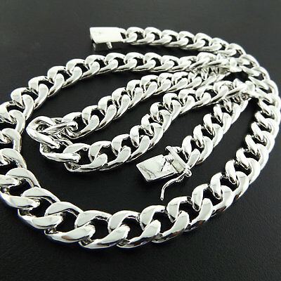 """Mens Silver Necklace Chain Real 925 Sterling S/F Solid Heavy Cuban Link 20"""" 50cm 6"""