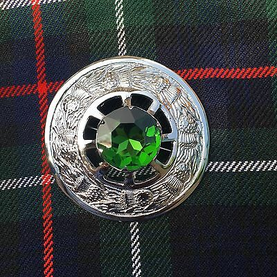 Kilt Fly Plaid Brooch Green Stone/Scottish  Fly Plaid Brooch/Brooches/pins 3