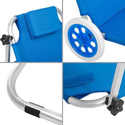 Chaise longue de plage jardin pliante transat bain de soleil toit aluminium bleu 7
