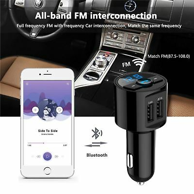 Wireless Bluetooth FM Transmitter Car Dual USB Charger MP3 Player Handsfree Call 4