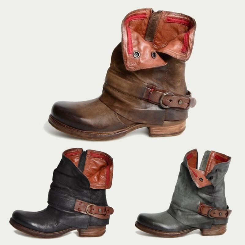 DAMEN STIEFEL STIEFELETTEN Martin Ankle Boots Vintage Worker