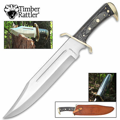 """12"""" Wood Hunting Survival Skinning Fixed Blade Knife Full Tang Army Bowie 3"""