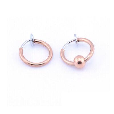 Fake Clip On SPRING Nose Hoop Ring Ear Septum Lip Eyebrow Earrings BCR Piercing 4