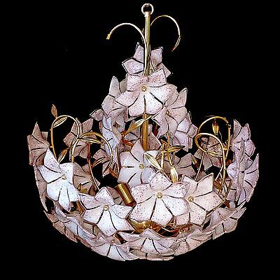 Stunning XL Large Vintage Italian Murano Pink Flower Venini Art-Glass Chandelier 4