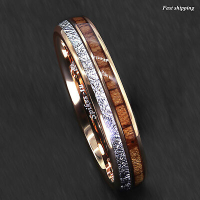 8/6mm Rose Gold Dome Tungsten Ring Silver Koa Wood Inlay Bridal ATOP Men Jewelry 6