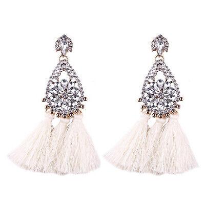 Women Bohemian Fashion Rhinestone Long Tassel Hook Fringe Dangle Drop Earrings 6