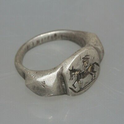 Museum Quality Circa 100-200 Ad Roman Silver Seal Ring Horseman 2