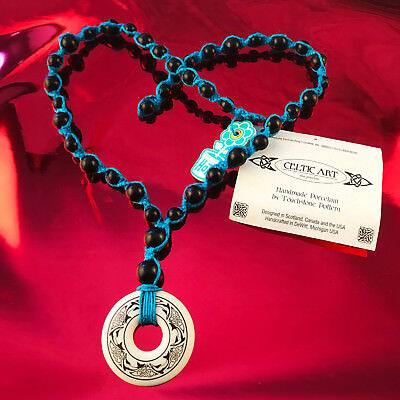 HOTI Hemp Handmade Celtic Nehalennia Dolphins Annulus Beaded Turquoise Necklace 3