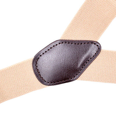 Mens Adjustable 35mm Wide Trouser Belt Suspender Elastic Leather Button Braces 7