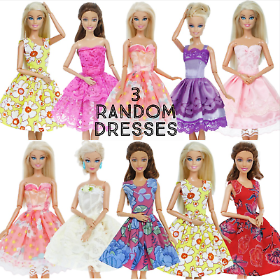 new barbie doll clothes clothing 3 random dresses party summer dress 9