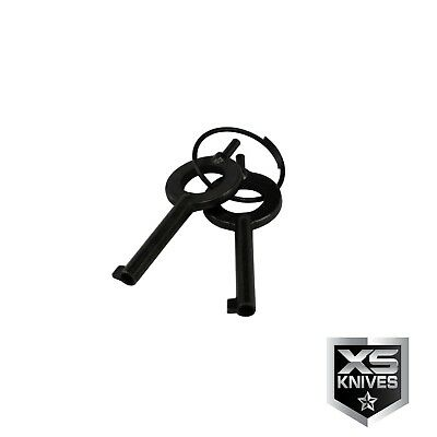 REAL Police Handcuffs DOUBLE LOCK Professional BLACK STEEL Hand Cuffs  w/ Keys