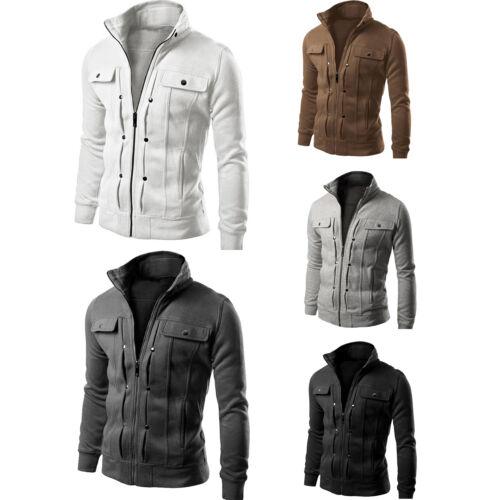 Men Stand Collar Slim Fit Winter Zip Coat Top Military Jacket Sweatshirt Outwear 8