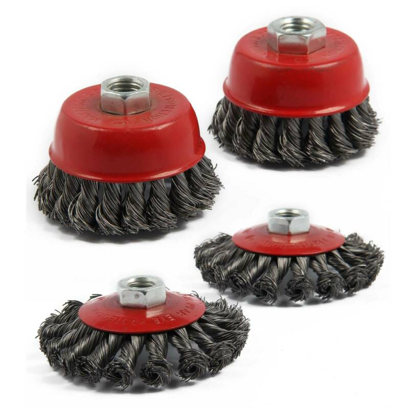 4PC Twist Knot Semi Flat Wire Wheel Cup Brush Set Kit For 115mm Angle Grinder UK