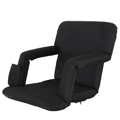 2 PCS Black Stadium Seat Bleacher Chair Cushion - 5 Reclining Positions 5