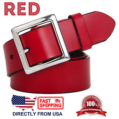 Women's Jean Belt, Classic Square Buckle Handcrafted Genuine Leather Belt 8