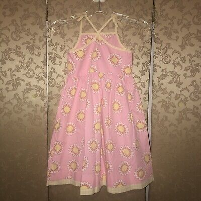 Mini Boden Pink Yellow White Multi-Color Floral Daisy Sun Dress 4 5 Years 2