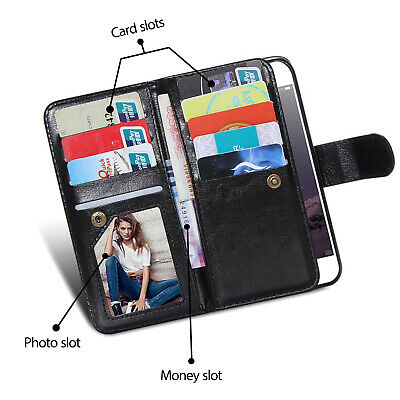 For iPhone 11 Pro XS MAX XR 8 7 Plus 6s Wallet Magnetic Flip Leather Case Cover 8