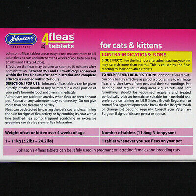 Johnsons 4Fleas 6 Tablet Pack Starts To Kill Dog & Cat Fleas In 15 Minutes-Rspca 4