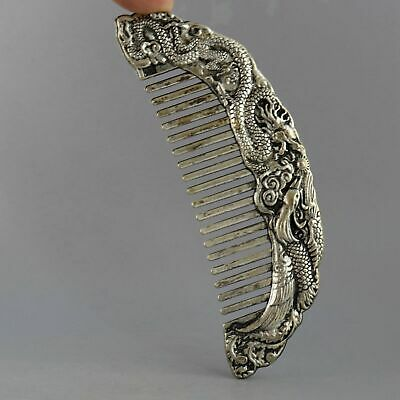 Collect China Old Miao Silver Hand-Carved Myth Dragon & Phenix Bring Wealth Comb 2