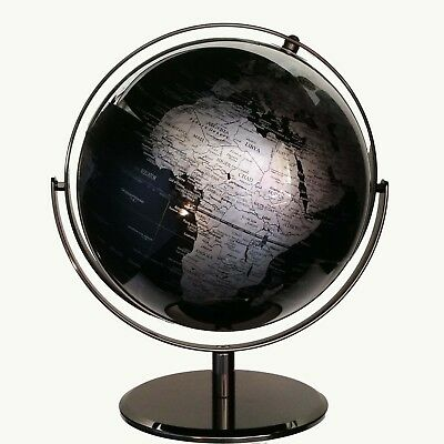 STUNNING HIGH QUALITY Double Axle World Globe Black Chrome Home Decor Gift 30cm 7