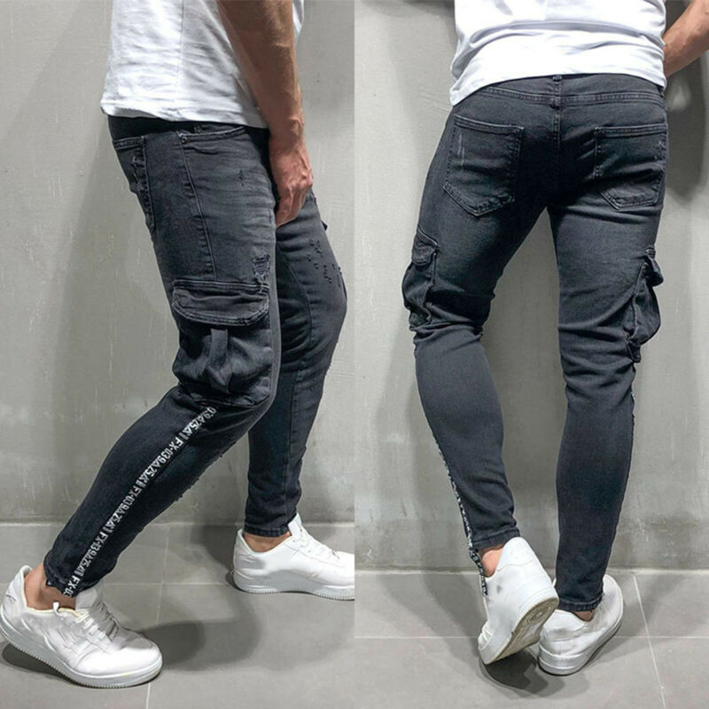 Mens Boys Stretch Skinny Ripped Jeans Biker Frayed Denim Leisure Tight Trousers 7