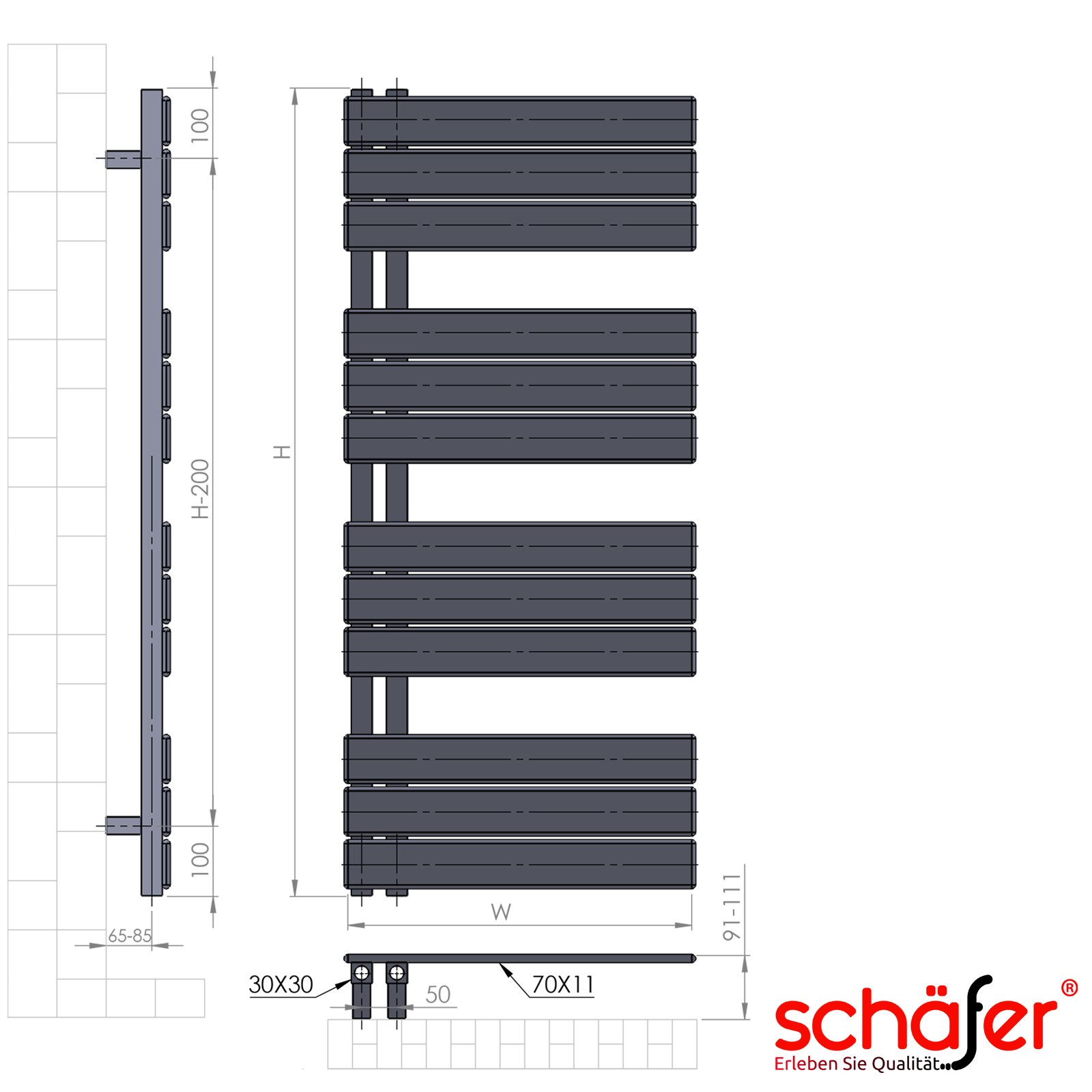 ELEKTRISCHE Design Badheizk/örper ELANOR 500 x 1150 mm, Anthrazit